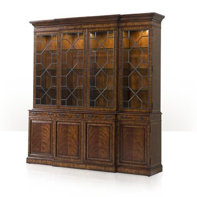 Theodore Alexander A flame veneered breakfront library bookcase