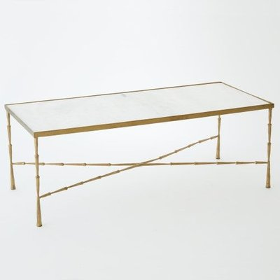Global Views ~Spike Cocktail Table w/ White Marble