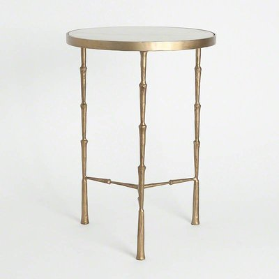 Global Views ~Spike Accent Table w/ White Marble