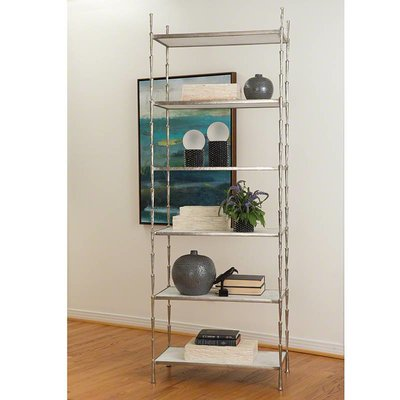 Global Views ~Spike Etagere-Antique Nickel w/White Ma
