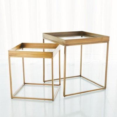 Global Views ~S/2 Perfect Nesting Tables-Antique Bras