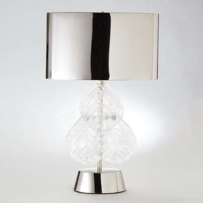 Global Views ~Murano Glass Leaf Table Lamp-Nickel