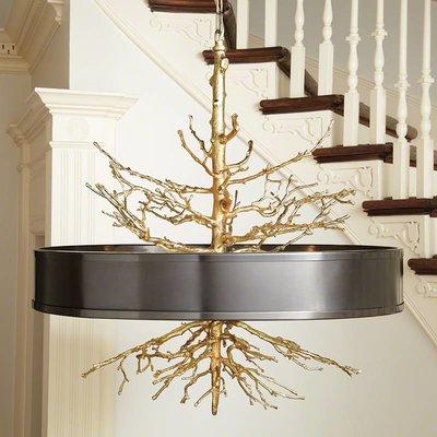 Global Views ~Twig Pendant-Brass on Brass w/Bronze Shade