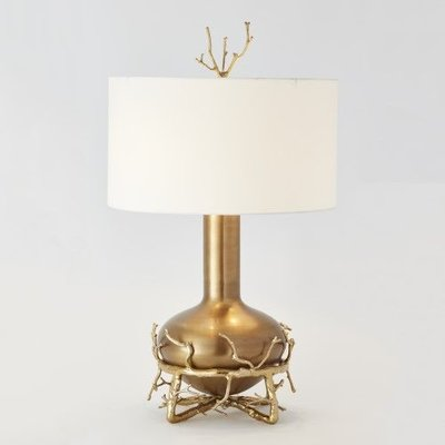 Global Views ~Fat Brass Twig Table Lamp