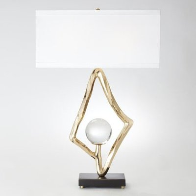 """Global Views ~Abstract Lamp w/6"""" Crystal Sphere-Brass"""