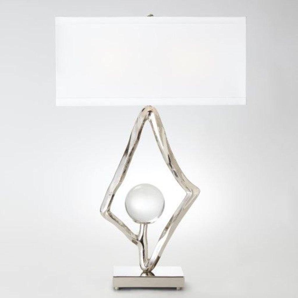 """Global Views ~Abstract Lamp w/6"""" Crystal Sphere-Nickel"""