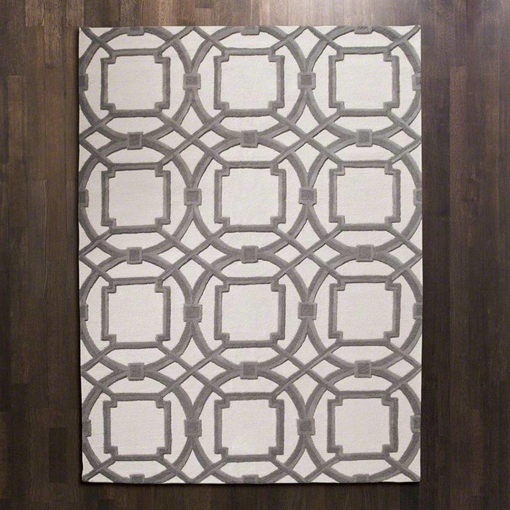 Global Views ~Arabesque Rug-Grey/Ivory-6' x 9'