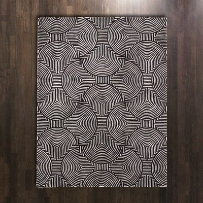 Global Views ~Arches Rug-Black/Ivory-6' x 9'