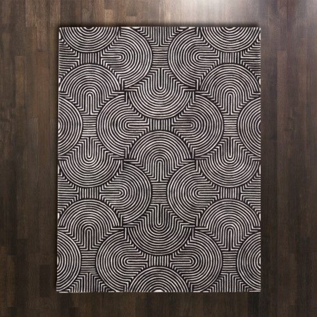 Global Views ~Arches Rug-Black/Ivory-5' x 8'