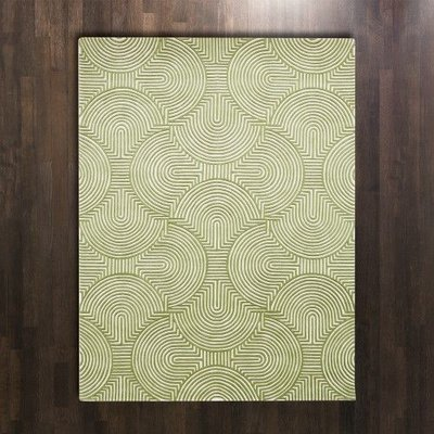 Global Views ~Arches Rug-Green/Ivory-5' x 8'
