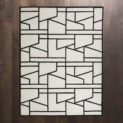 Global Views ~Zig Zag Rug-Ivory/Black-5' x 8'