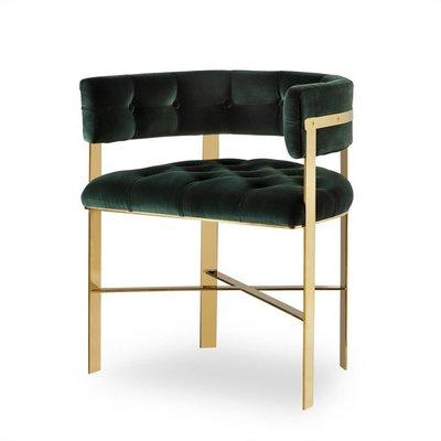 Resource Decor Art Dining Chair -  Mirrored Brass / Tufted / Grade 1