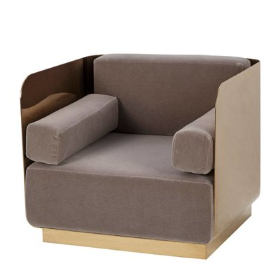 Resource Decor Vinci Occasional Chair - Mohair / Mirrored Brass (UK)