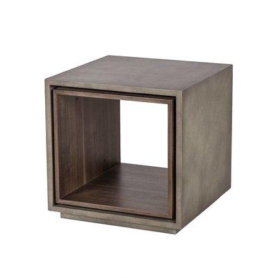 Resource Decor Wood & Concrete Square Side Table