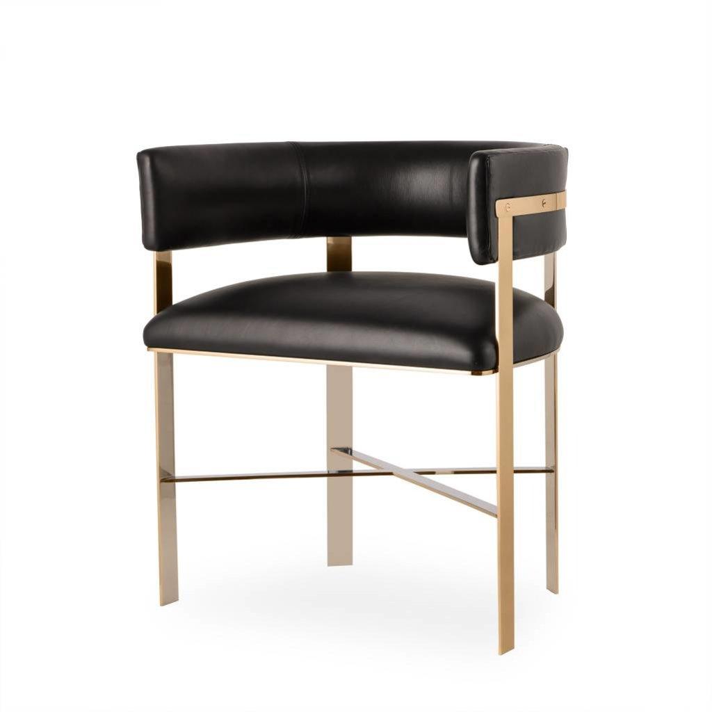 Resource Decor Art Dining Chair - Black Leather (UK)