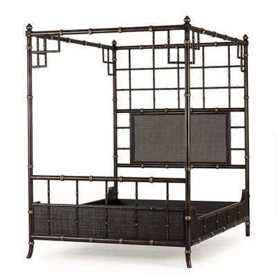 Resource Decor Bamboo 4 Poster Bed  - Black & Gold / UK King