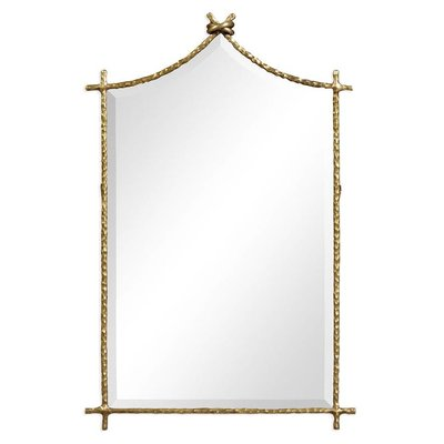 Jonathan Charles Brass Hammered Wall Mirror