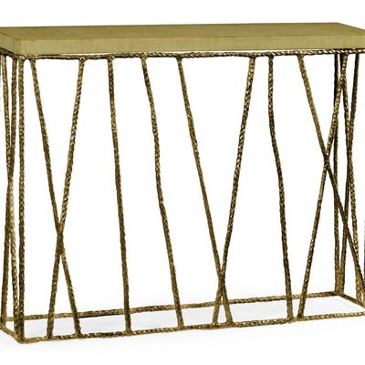 Jonathan Charles Brass Hammered Console with Celadon Top