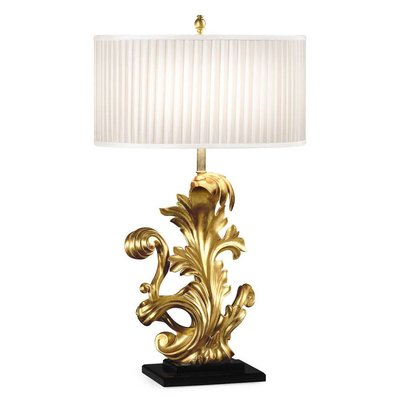 Jonathan Charles Gold-Leaf Gilded Carved Table Lamp