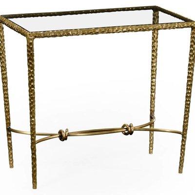 Jonathan Charles Hammered Brass Rectangular Side Table