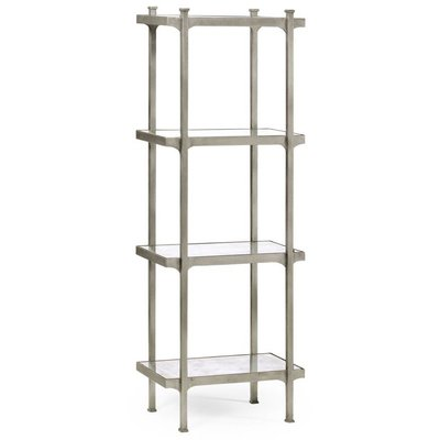 Jonathan Charles Silver Iron Narrow Four-Tier Etagere