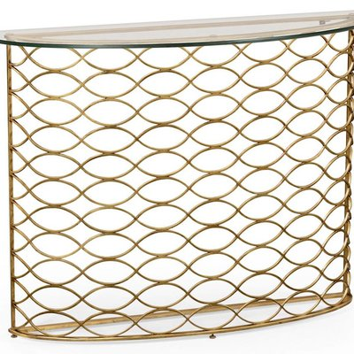 Jonathan Charles Interlaced Gilded and Glass Demilune Console