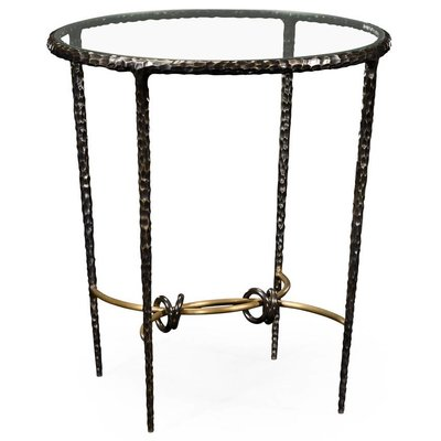 Jonathan Charles Hammered Iron Circular Side Table