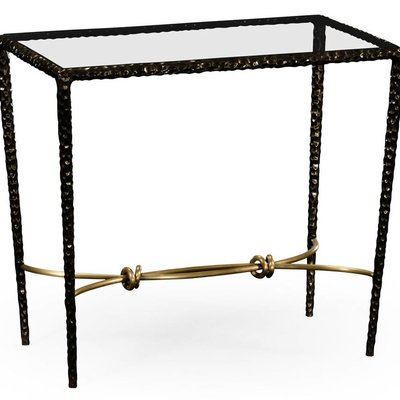 Jonathan Charles Hammered Iron Rectangular Side Table