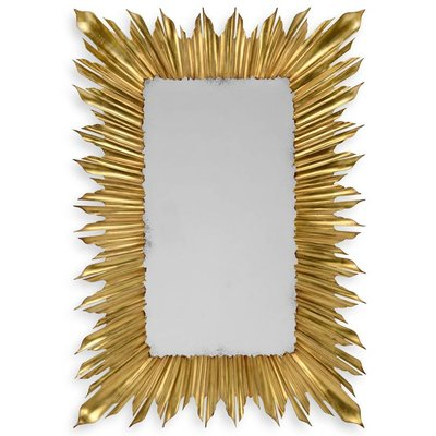 Jonathan Charles Gilded Rectangular Sunburst Mirror