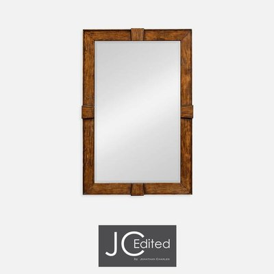 Jonathan Charles Country Walnut Rectangular Mirror