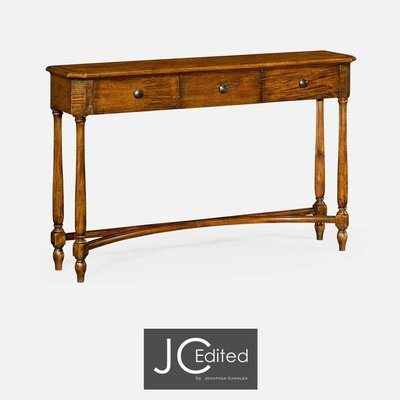 Jonathan Charles Country Walnut Three Drawer Large Console Table