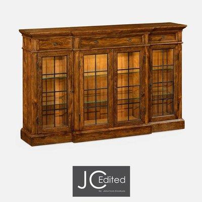 Jonathan Charles Four Door China Display Cabinet in Rustic Walnut