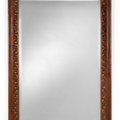 Jonathan Charles Dark Oak Rectangular Mirror with Carved Rosettes