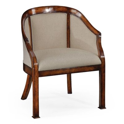Jonathan Charles Plain Upholstery Walnut Salon Tub Chair