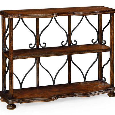 Jonathan Charles Two-Tier Bookcase in Rustic Walnut
