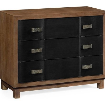 Jonathan Charles Black Leather Inlaid Chest of Drawers