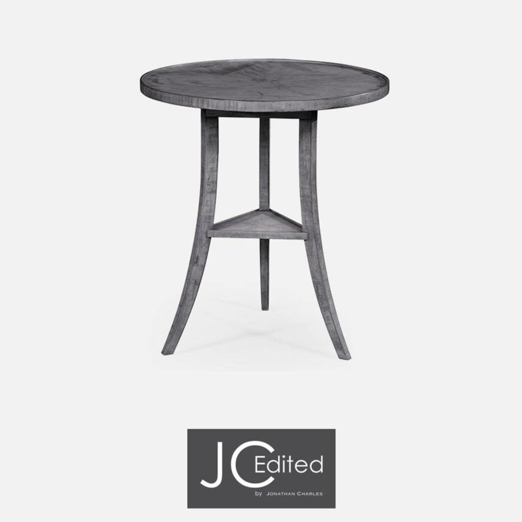 Jonathan Charles Antique Dark Grey Round Lamp Table