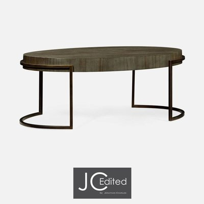 Jonathan Charles Light Bronze Iron Oval Coffee Table In Chestnut