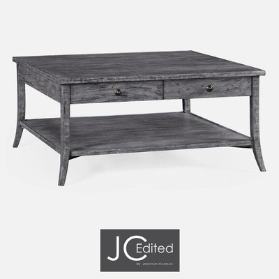 Jonathan Charles Square Coffee Table in Antique Dark Grey