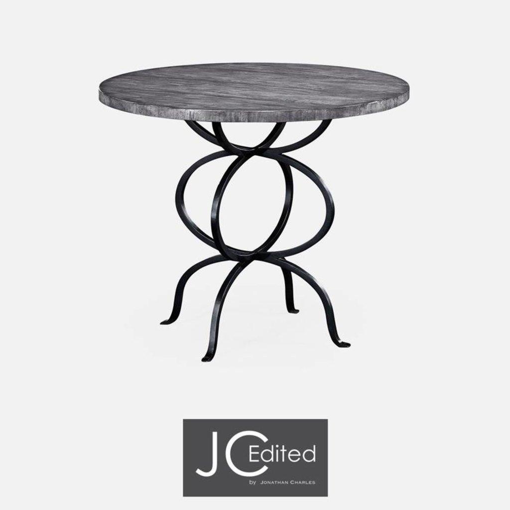 Jonathan Charles Antique Dark Grey Panelled Round Centre Table