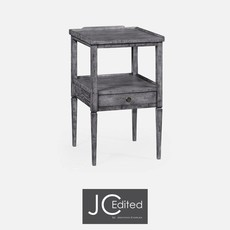 Jonathan Charles Antique Dark Grey Square Lamp Table with Drawer