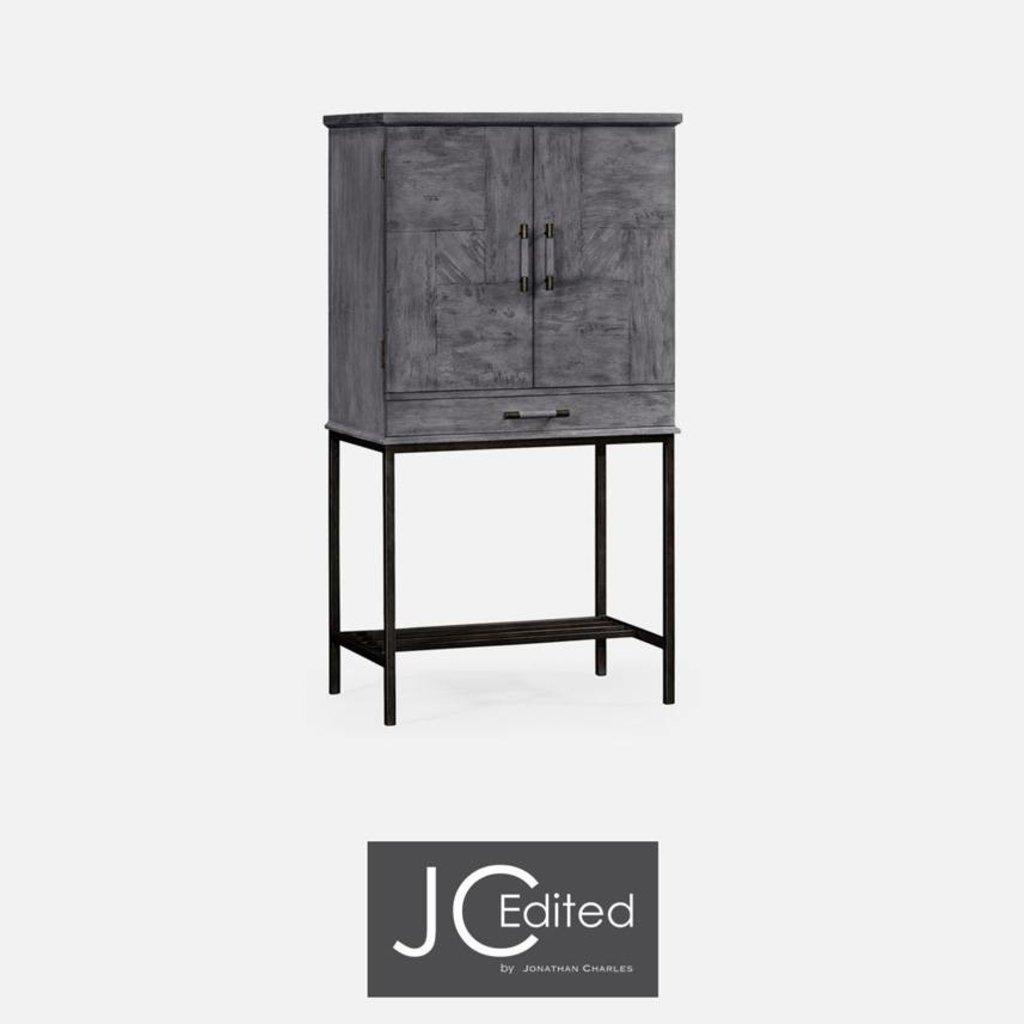 Jonathan Charles Antique Dark Grey Bar Cabinet