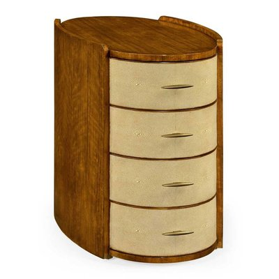 Jonathan Charles Ivory Shagreen Oval Bedside Chest Of Drawers