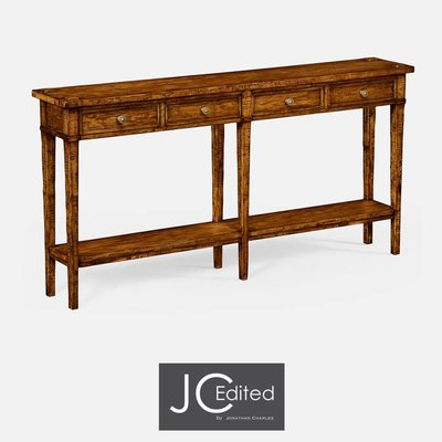 Jonathan Charles Country Walnut Four Drawer Console Table