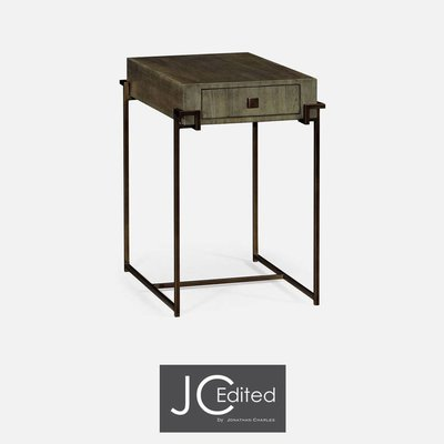 Jonathan Charles Light Bronze Iron Rectangular End Table