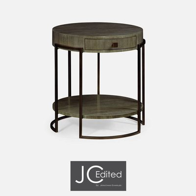 Jonathan Charles Light Bronze Iron Round Side Table in Chestnut