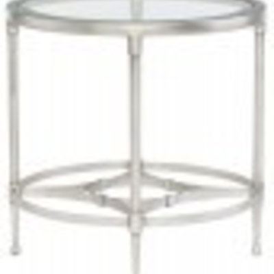 Bernhardt Cordelia Round Metal End Table with Glass Top