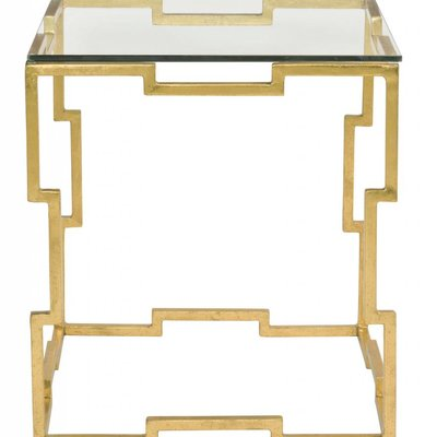 Bernhardt Bancroft Rectangular End Table Glass Top and Metal Base