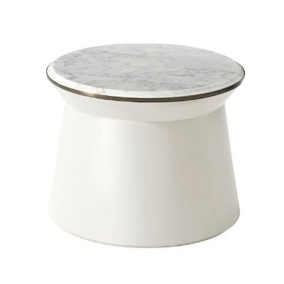 Theodore Alexander Contour Side Table (Pure Pearl, Large)