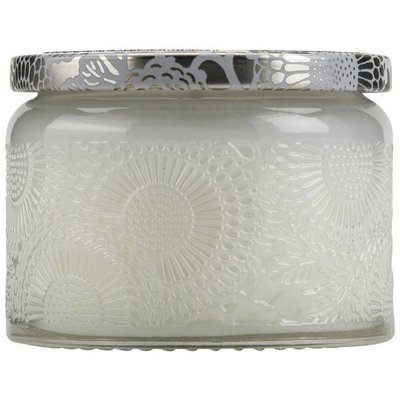 VOLUSPA PETITE EMBOSSED GLASS JAR CANDLE-MOKARA